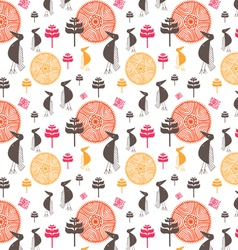 Seamless background from amusing stylized bird vector
