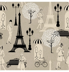 Seamless pattern - Effel Tower street lights old f vector