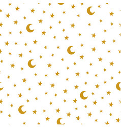Seamless pattern with cartoon stars and moon on vector