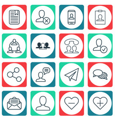 Set of 16 social network icons includes speaking vector