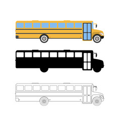 Set of flat school bus icon cartoon outline vector