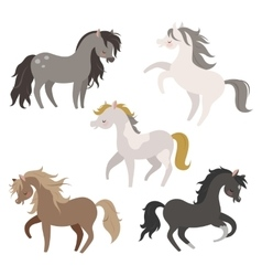 set of horses in action vector image