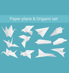 set of paper planes airplane and cranes vector image