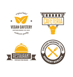 set of restaurant shop design element in vintage vector image