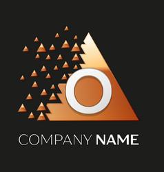 Silver letter o logo symbol in the triangle shape vector