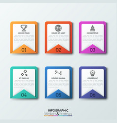 six rectangular envelopes with numbers headings vector image
