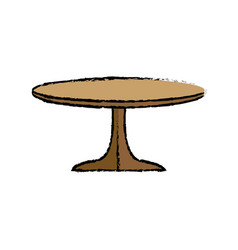 table wooden round furniture decoration vector image