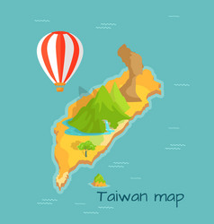 Taiwan map with keelung and dragon mountain vector