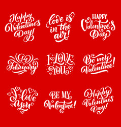 valentine day love and hearts lettering vector image