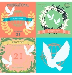 Vintage posters for the International Day of Peace vector image