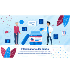 vitamins for older adults flat banner vector image