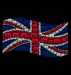 Waving united kingdom flag pattern of analysis vector