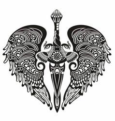 Winged sword logo vector