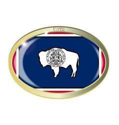 wyoming state flag oval button vector image