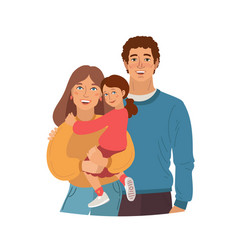 young smiling family portrait mother father and vector image