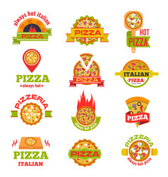 delivery pizza logo badge set vector image
