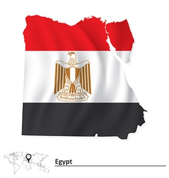 Map of Egypt with flag vector image vector image