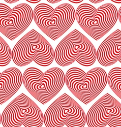 Red Heart Striped seamless pattern on white vector image