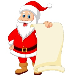 Santa clause cartoon holding blank vintage paper vector image vector image