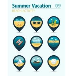 Beach activity pin map icon set Summer Vacation vector image