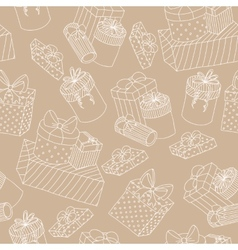 Beige seamless pattern with boxes of presents vector image
