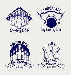 bowling club logo design sketch vector image vector image