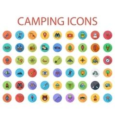 Camping flat icon set vector image vector image