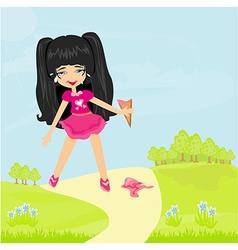 Cartoon girl crying with ice cream drop vector image