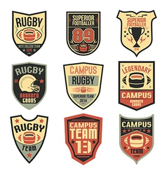College rugby team emblems vector image vector image