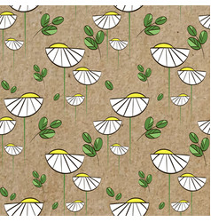 floral pattern with white daisies and green vector image