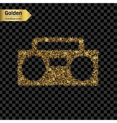 Gold glitter icon of boombox isolated on vector image