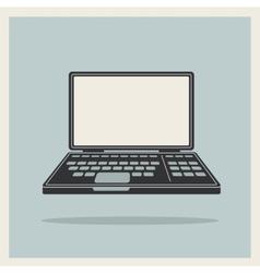 Laptop notebook computer vintage icon vector image