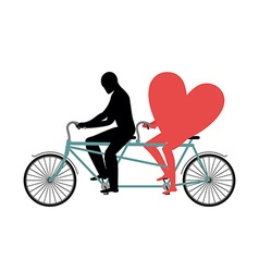 Lovers of cycling Man rolls heart on tandem Heart vector image vector image