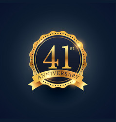 41st anniversary celebration badge label in vector