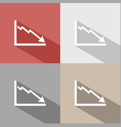 bankruptcy chart icon with shade on colored vector image