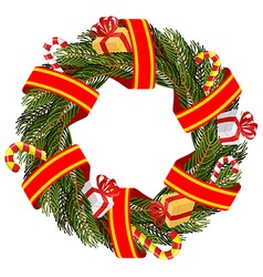 Christmas wreath of spruce branches Decoration for vector image