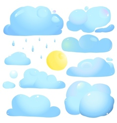 Clouds Sun and Rain Drops vector image