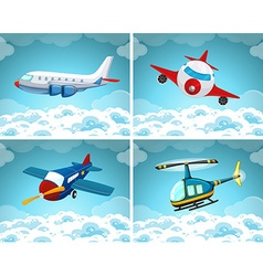 Four scenes of airplane flying in the sky vector image