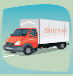 isolated box truck with closed body vector image