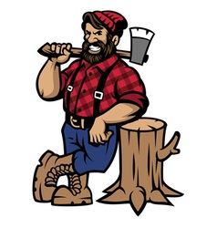lumberjack lean on the wood log vector image vector image