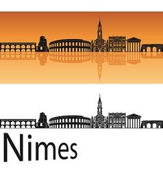 Nimes skyline in orange background vector image vector image