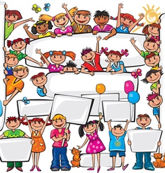 Set of kids standing behind placard vector image
