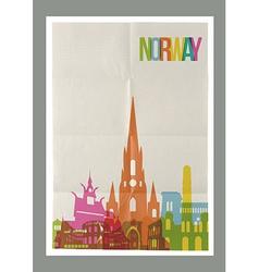 Travel Norway landmarks skyline vintage poster vector image vector image