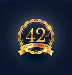 42nd anniversary celebration badge label in vector image