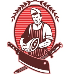 Butcher holding meat knife sharpening tool vector