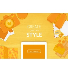 Creative background in orange style vector image vector image