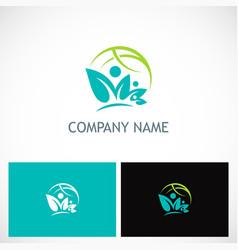 leaf ecology globe nature logo vector image vector image