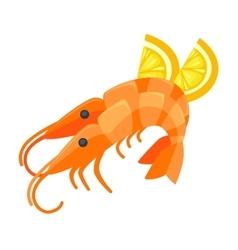 Shrimp with lemon in cartoon style vector image