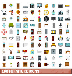 100 furniture icons set flat style vector image