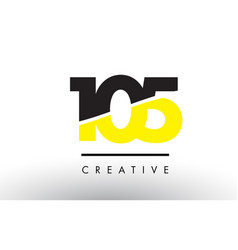 105 black and yellow number logo design vector
